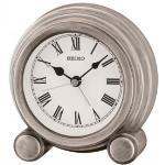 Seiko QXE052S Antique Finish Mantel Alarm Clock Silver QXE052S