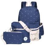 Winner 3 for 1 Quality Dark Blue Canvas Fabric School Bags for Teenagers Backpacks for Teenage Girls Korean Backpack Bookbag - Intl