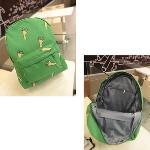 New Fashion Women Canvas Backpack OK Hands Onion Banana Pattern Print Schoolbag Green
