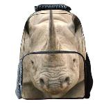 Eozy Travel Satchels Canvas Casual Backpacks Rhinoceros Korean Primary Middle School Students Pack Bag(Multicolor) (EXPORT)