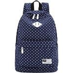 Casual Style Polka Dots Canvas Oxford Laptop Backpack School Bag Travel Daypack with Laptop Lining Sapphire Blue