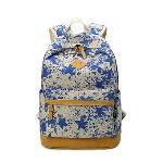 Leaper Lightweight Canvas Laptop Backpack Cute School Bag Star Blue (Intl)