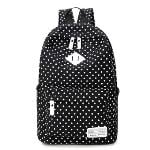 Lightweight Casual Daypack Backpack for College Bookbag for Women Girls School Bags Female College Students Storm Dot Schoolbag (Black)