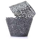 12pcs Filigree Vine Cupcake Wrappers Wraps Cases Wedding Birthday Decorations Black (Intl)