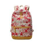 Leaper Lightweight Canvas Laptop Backpack Cute School Bag Star Red (Intl)
