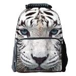 Eozy 3D Animal Casual Backpacks Cartoon White Tiger Shoulder Men Women Satchels Bags Travel Outdoor Bag(Multicolor) (EXPORT)