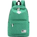 Casual Style Polka Dots Canvas Oxford Laptop Backpack School Bag Travel Daypack with Laptop Lining Green(Export)(Intl)
