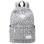 Flora School Student Backpack College Laptop Bags Rucksack for Young Women Teens Girls (Grey)