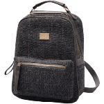 Fanco Cute and Pretty Girls Canvas and PU leather Stripe Backpack for School/ Travel/Daily Use Grey(Export)