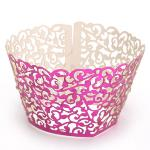 12Pcs Pearly Filigree Vine Cupcake Wrappers Wraps Cases Wedding Birthday Party Rose Red(Export)(Intl)
