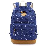 Multi-purpose Canvas Girls Student Fawn Printed Schoolbag School Outdoor Travel Backpack Tablet Laptop Carry Bag Blue (EXPORT) - INTL