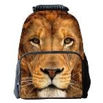 Eozy 3D Lion Backpacks School Satchels Students Men Women School Bags Animal Travel Outdoor Pack Bag(Multicolor) (EXPORT)