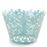 Five Star Store 12Pcs Xmas Snowflake Flower Pearly Cake Cupcake Wrappers Birthday Wedding Party (Emerald)