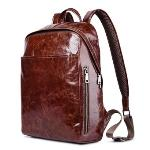 Icarer 15 inch Hot Style Casual Vintage Oil Wax Waterproof Real Genuine Leather Backpack Fashion Shoolbag Camping Bag, Coffee - Intl