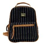 Fanco Cute and Pretty Girls Canvas and PU leather Stripe Backpack for School/ Travel/Daily Use Black(Export)