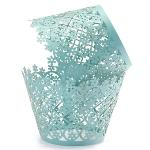 12Pcs Xmas Snowflake Flower Pearly Cake Cupcake Wrappers Birthday Wedding Party (Emerald)(Export)