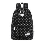 Casual Style Polka Dots Canvas Oxford Laptop Backpack School Bag Travel Daypack with Laptop Lining Black (EXPORT) - INTL