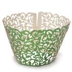 Pearly Filigree Vine Cupcake Wrappers Wraps Cases Wedding Birthday Party (Green) (EXPORT)- INTL