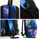 Fashion Women Girl Canvas Bag Galaxy Print Cosmic Space Backpacks Schoolbag Travelling Backpack Blue