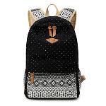 Lightweight Canvas Laptop Backpack Cute School Bags Black