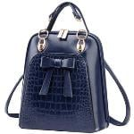 British Vintage Crocodile Pattern Bowknot Double Zipper Totes Handbag School Backpack (Blue)