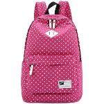 Casual Style Polka Dots Canvas Oxford Laptop Backpack School Bag Travel Daypack with Laptop Lining Rosy Red(Export)(Intl)