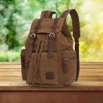 Large Capacity Canvas Casual Backpack Laptop Bag Schoolbag Brown