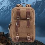 Large Capacity Canvas Casual Laptop Bag Backpack Schoolbag Khaki (Intl)