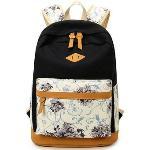 Lightweight Canvas Laptop Backpack Cute School Bag (Black)