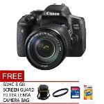 Canon EOS 750 + 18-135 WIFI STM - 24.2 MP - Hitam + Gratis SDHC 8 GB + Tas Kamera + UV FIlter + Screen Guard