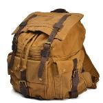 Man Leisure Canvas Backpack Large Volume Khaki