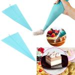 OH 34cm Silicone Reusable Icing Piping Cream Pastry Bag Cake Decorating Tool DIY (Light Blue)