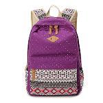 Women Vintage Printed Patchwork Canvas Backpack(Purple)(Export)