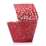 12pcs Filigree Vine Cupcake Wrappers Wraps Cases Wedding Birthday Decorations (Red)(Export)(Intl)