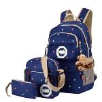 Canvas Travel Laptop Rucksack Cross-body Bag Pouch Set (Blue)(Export)(Intl)