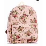 Huolala Flower Printed Girls/Women Canvas Backpack Travel Bags School Backpack Rucksack (Intl)