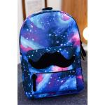 Mustache Decoration Cute Unisex Schoolbag Large Capacity Canvas Backpack Brown (EXPORT)